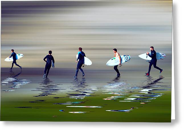 Croyde Greeting Cards - Lets go surf Greeting Card by Sharon Lisa Clarke