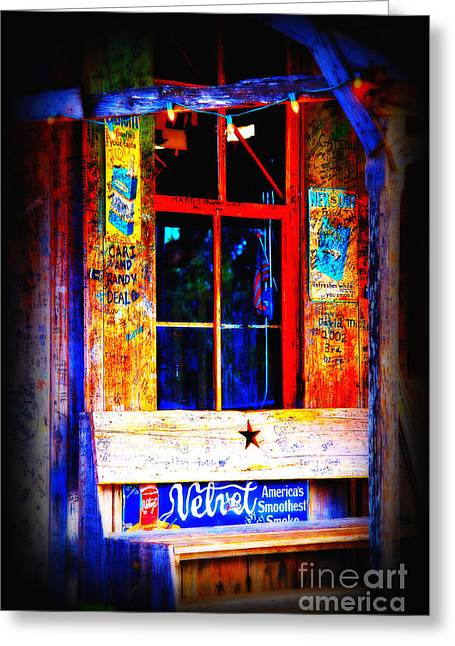 Historic Country Store Photographs Greeting Cards - Lets go to Luckenbach Texas Greeting Card by Susanne Van Hulst
