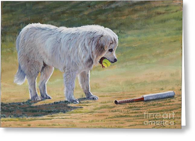 Softball Paintings Greeting Cards - Lets Play Ball - Great Pyrenees Greeting Card by Danielle Smith