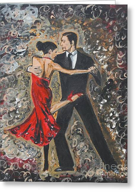 Woman In A Dress Greeting Cards - Lets Tango Greeting Card by Jasmine Tolmajian