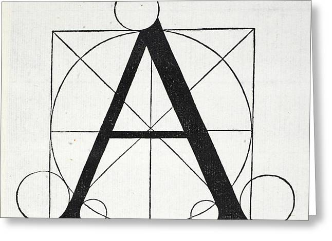 Circles Tapestries - Textiles Greeting Cards - Letter A Greeting Card by Leonardo Da Vinci