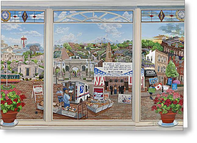 Ebbets Field Greeting Cards - Letter Carriers Picture Window Of Brooklyn Greeting Card by Bonnie Siracusa