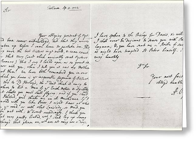 Morley Greeting Cards - Letter Dated 1722 From Alexander Pope Greeting Card by Ken Welsh