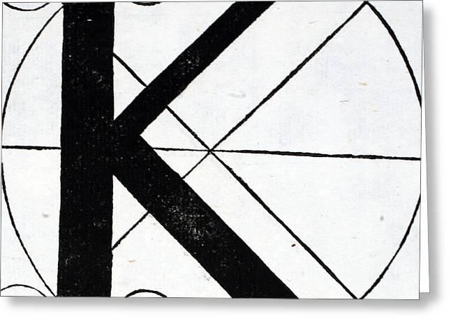 White Tapestries - Textiles Greeting Cards - Letter K Greeting Card by Leonardo Da Vinci