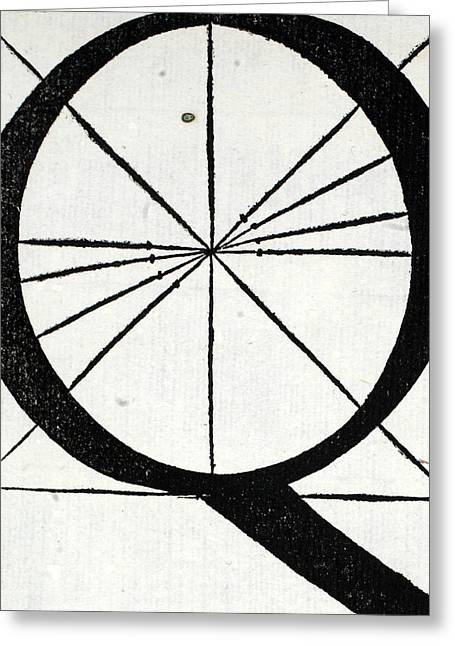 White Tapestries - Textiles Greeting Cards - Letter Q Greeting Card by Leonardo Da Vinci