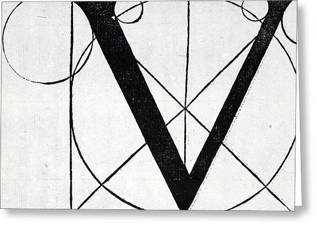 Circles Tapestries - Textiles Greeting Cards - Letter V Greeting Card by Leonardo Da Vinci