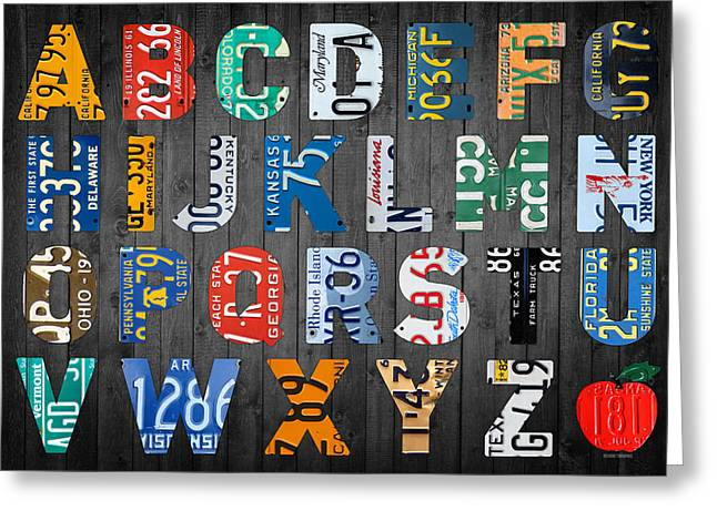 Spelling Greeting Cards - Letters of the Alphabet Recycled Vintage License Plate Art with Apple Colorful School Nursery Kids Room Print Greeting Card by Design Turnpike