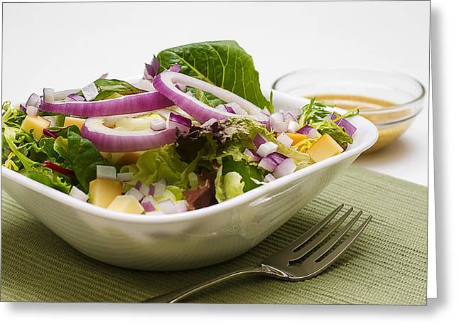 Olive Oil Greeting Cards - Lettuce  Salad with Mustard Vinaigrette Dressing Greeting Card by Donald  Erickson