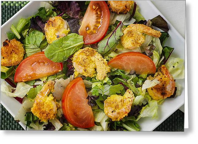 Lettuce Greeting Cards - Lettuce Tomato Herb Salad with Shrimp Greeting Card by Donald  Erickson