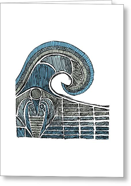 Surfing Art Drawings Greeting Cards - Leviathan - Color Greeting Card by Hinterlund