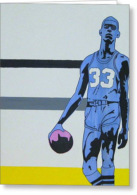 Lakers Mixed Media Greeting Cards - Lew Alcinder Greeting Card by Justin Farmer