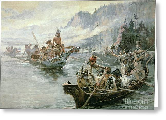 Languages Greeting Cards - Lewis and Clark on the Lower Columbia River Greeting Card by Charles Marion Russell