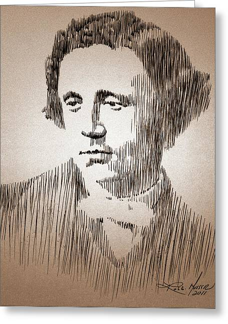 Robbi Musser Drawings Greeting Cards - Lewis Carroll Greeting Card by Robbi  Musser