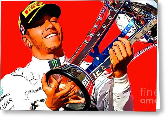 Lewis Hamilton Greeting Card by Scott Ashgate