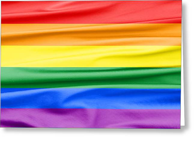 Cloth Greeting Cards - LGBT Rainbow Banner Greeting Card by Semmick Photo