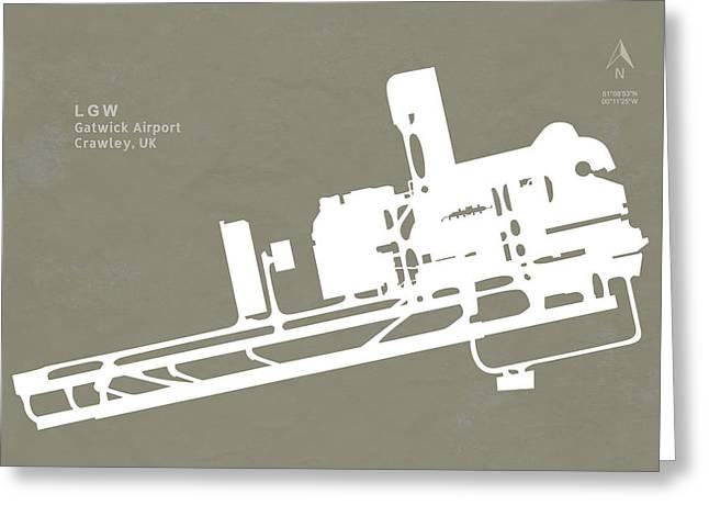 Crawley Greeting Cards - LGW Gatwick Airport in Crawley United Kingdom Runway Silhouette Greeting Card by Jurq Studio