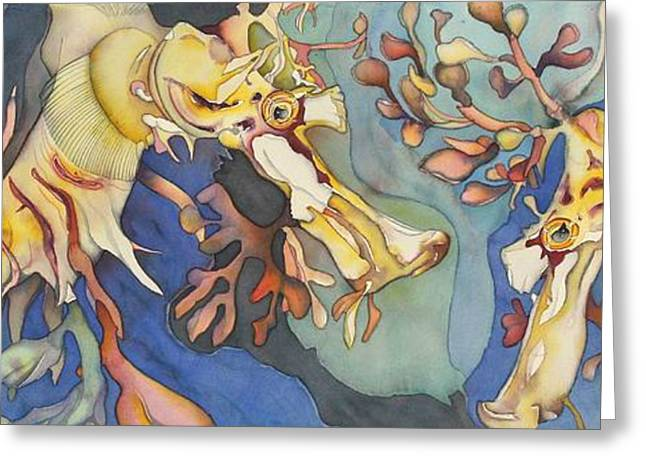 L'hippocampe Jaune Greeting Card by Liduine Bekman