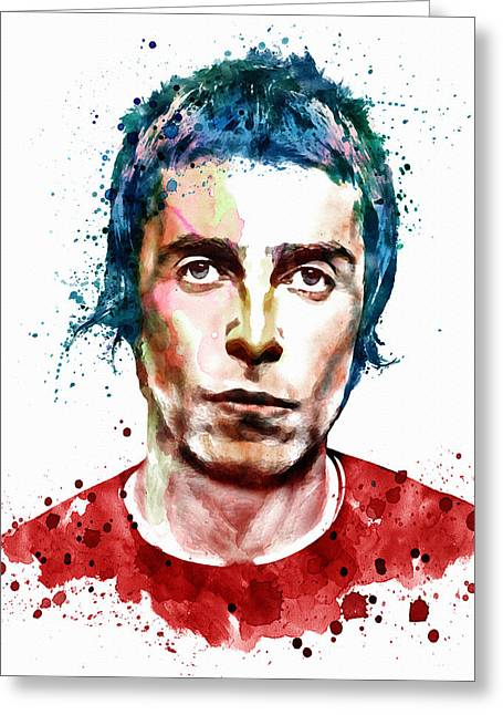 British Celebrities Digital Greeting Cards - Liam Gallagher watercolor portrait Greeting Card by Marian Voicu