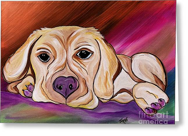 Mixed Labrador Retriever Mixed Media Greeting Cards - Liam My Golden Friend    Greeting Card by Janice Rae Pariza
