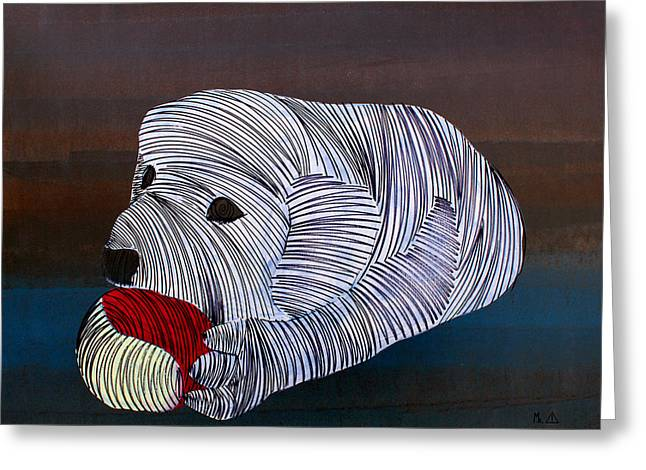 Puppies Paintings Greeting Cards - Lib 226 Greeting Card by Mr CAUTION
