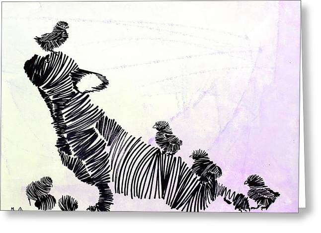 Puppies Paintings Greeting Cards - Lib-610  Greeting Card by Mr CAUTION