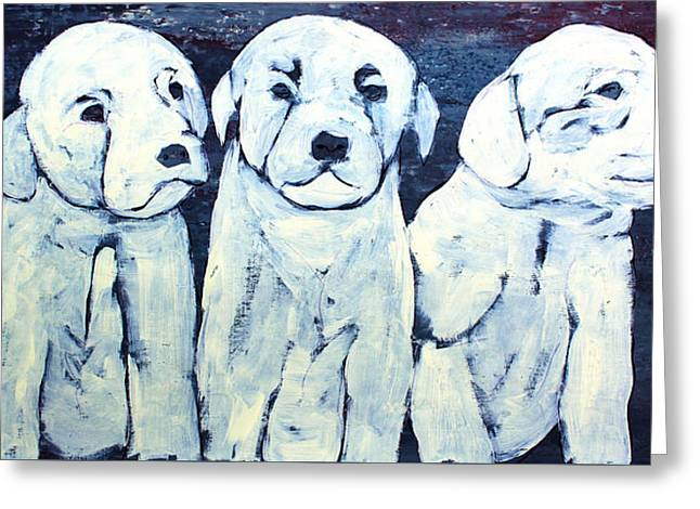 Puppies Paintings Greeting Cards - Lib-740 Greeting Card by Mr CAUTION