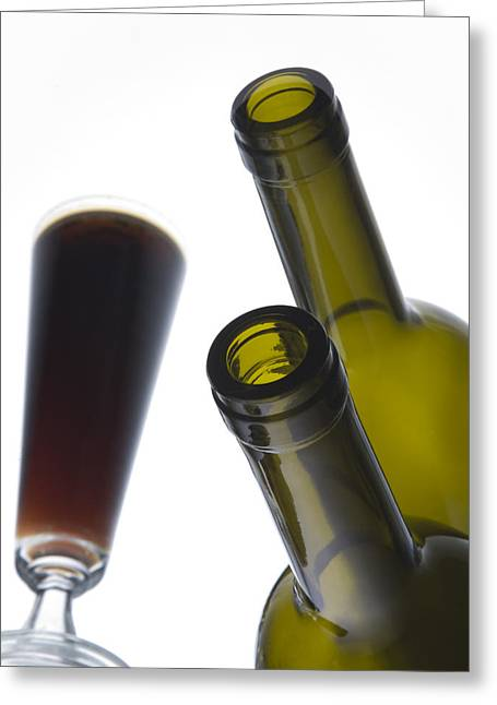 Wine-bottle Greeting Cards - Libation 3 Greeting Card by Patrick Ziegler