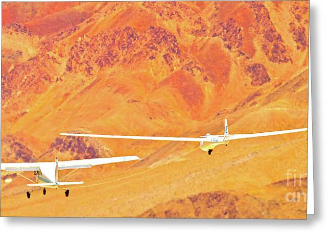 Lone Pine Greeting Cards - Libelle Sailplane On Tow Greeting Card by Gus McCrea