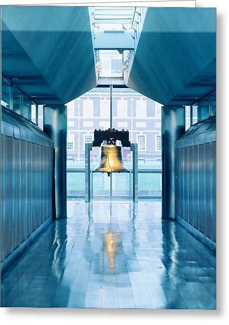 Liberty Bell Hanging In A Corridor Greeting Card by Panoramic Images