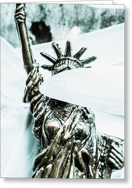 Liberty Blinded By Corruption Greeting Card by Jorgo Photography - Wall Art Gallery