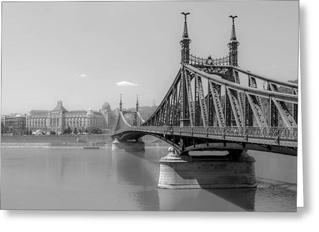 Abstract Shapes Greeting Cards - Liberty Bridge - Black and White Greeting Card by Justin Woodhouse