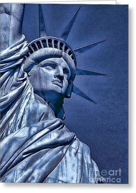 Historic Statue Greeting Cards - Liberty in Blue  Greeting Card by Dyle   Warren