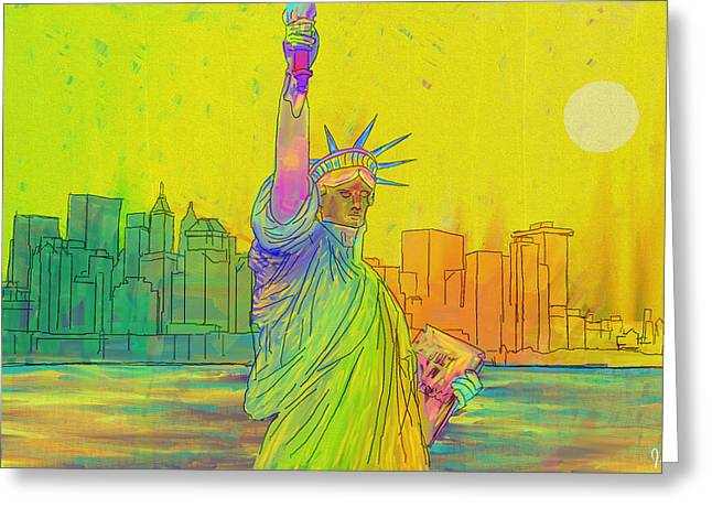 Liberty Greeting Card by Jeremy Aiyadurai
