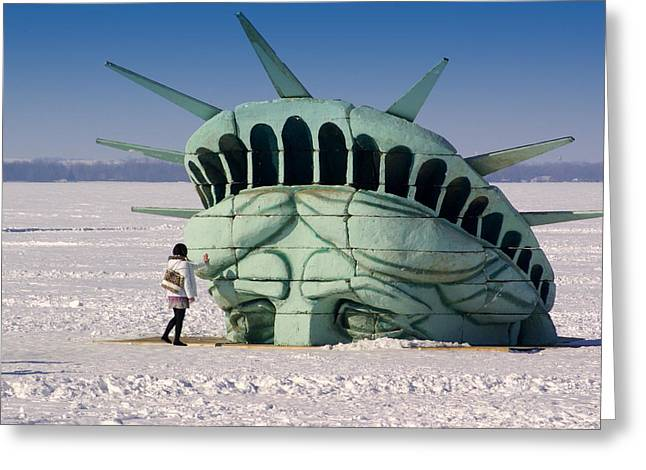Statue Greeting Cards - Liberty Greeting Card by Linda Mishler