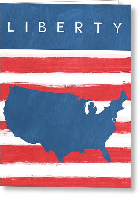 Firework Greeting Cards - Liberty Greeting Card by Linda Woods