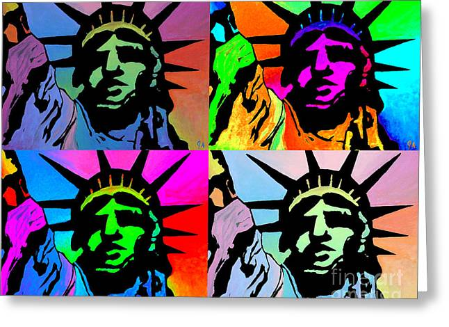 Liberty Of Colors - Mosaic Greeting Card by Jeremy Aiyadurai