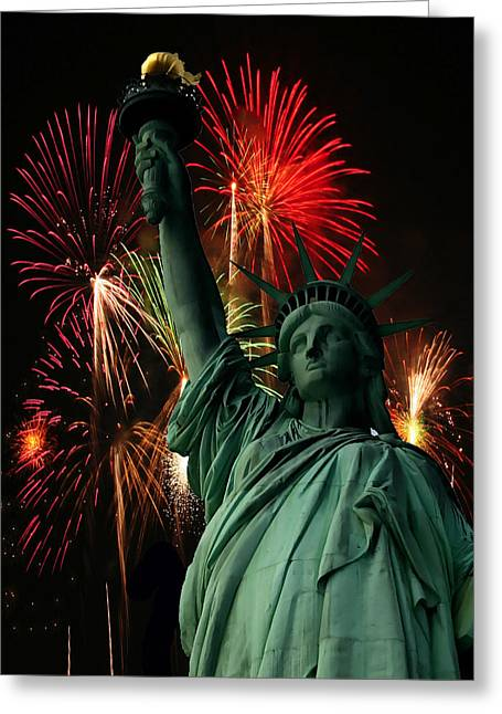 Flag Of Usa Greeting Cards - Liberty Greeting Card by Ron Grafe