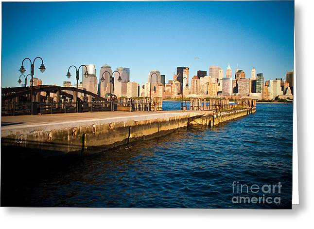 Valerie Morrison Greeting Cards - Liberty State Park Pier Greeting Card by Valerie Morrison