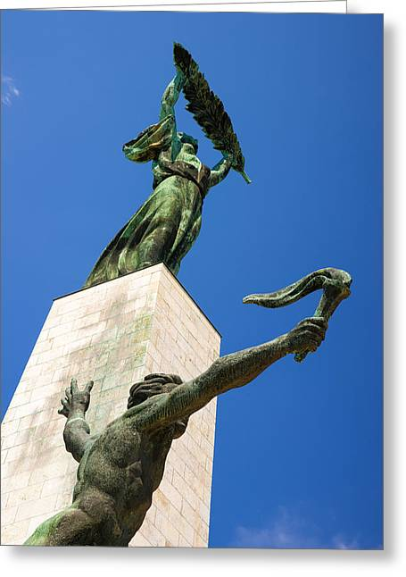 Carrier Greeting Cards - Liberty statue and flame carrier Budapest Hungary Greeting Card by Matthias Hauser