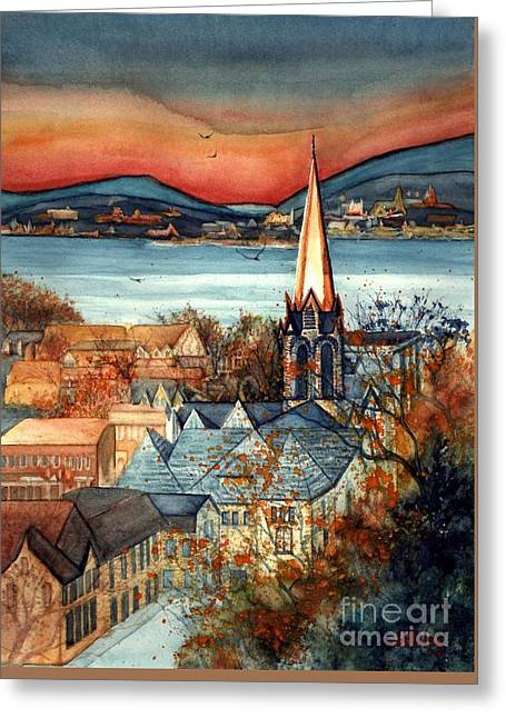 Liberty's Light - Newburgh Ny Greeting Card by Janine Riley