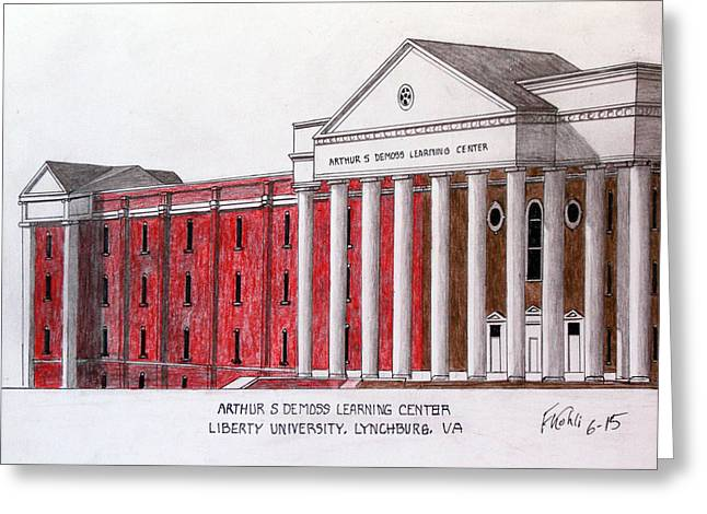 Pen And Ink Framed Prints Greeting Cards - Libery University DeMoss Learning Center Greeting Card by Frederic Kohli