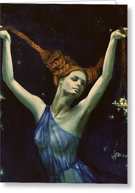 Live Paintings Greeting Cards - Libra from Zodiac series Greeting Card by Dorina  Costras