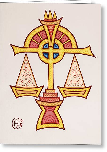 Celtic Knotwork Greeting Cards - Libra Greeting Card by Ian Herriott