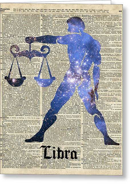 Office Space Mixed Media Greeting Cards - Libra Scales Zodiac Sign Greeting Card by Jacob Kuch
