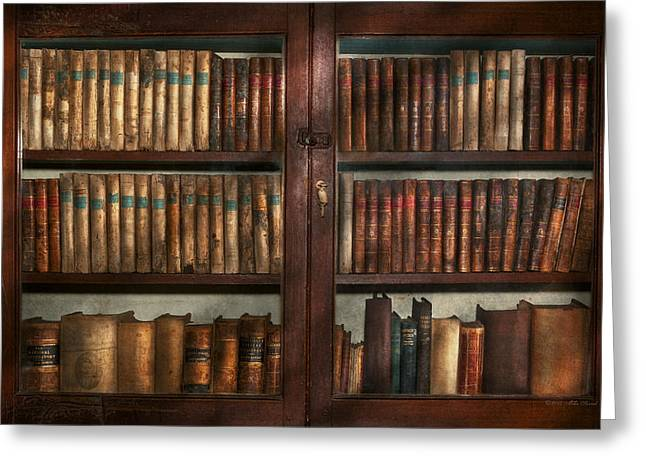 Decay Educational Greeting Cards - Librarian - In the library Greeting Card by Mike Savad