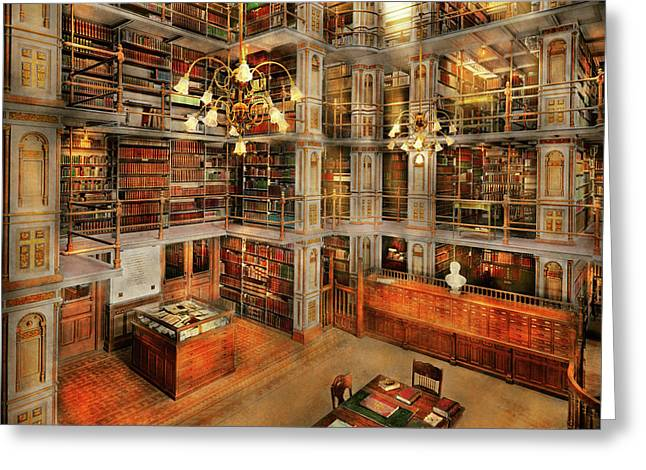 Library - A Literary Classic 1905 Greeting Card by Mike Savad
