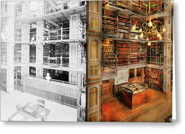 Library - A Literary Classic 1905 - Side By Side Greeting Card by Mike Savad