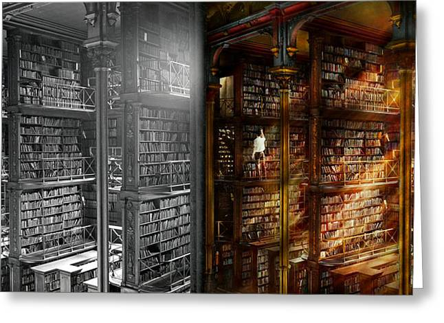 Library - It Starts With A Single Page 1920 - Side By Side Greeting Card by Mike Savad
