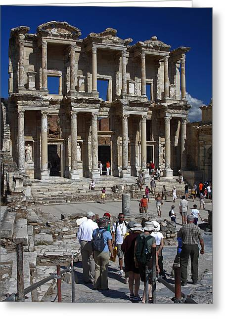 Library Of Celsus Greeting Cards - Library of Celsus Greeting Card by Sally Weigand