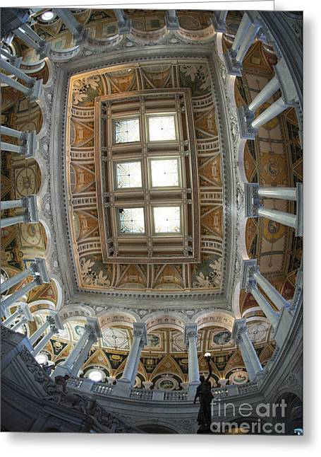 Library Of Congress Greeting Cards - Library of Congress Ceiling Greeting Card by David Bearden
